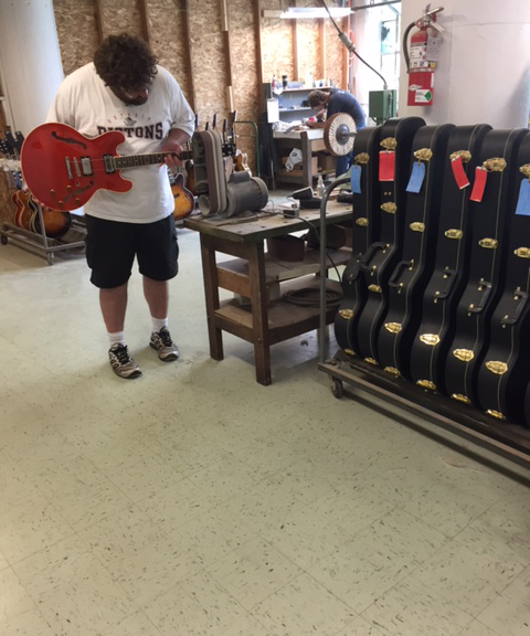 S4S 4 x 36 belt sander putting the finishing touches on a Heritage Guitar