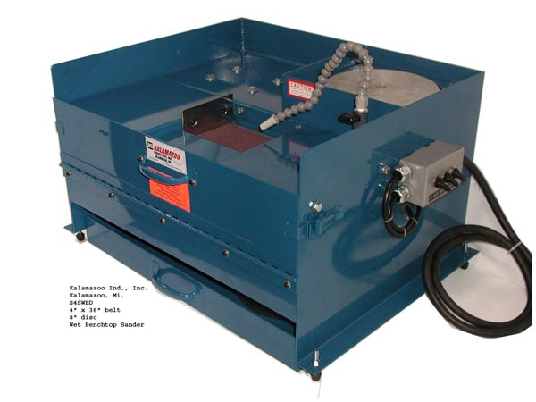 S4SWB 4 inch Wet Metallurgical Belt Sander with 8 inch disc, Kalamazoo Industries S4SWB 4 x 36 inch Wet Metallurgical Belt Sander, S4SWB 4 x 36 inch Wet Metallurgical Belt Sander, 4 x 36 inch Wet Metallurgical Belt Sander, Kalamazoo Industries S4SWB 4 x 36 inch, 36 inch wet metallurgical belt sander, industrial , wet belt sander, metallurgical