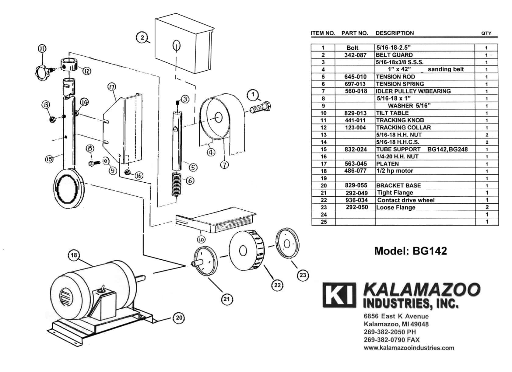 BG142 1 x 42 inch industrial belt grinder parts list, industrial, belt grinder, grinder, parts