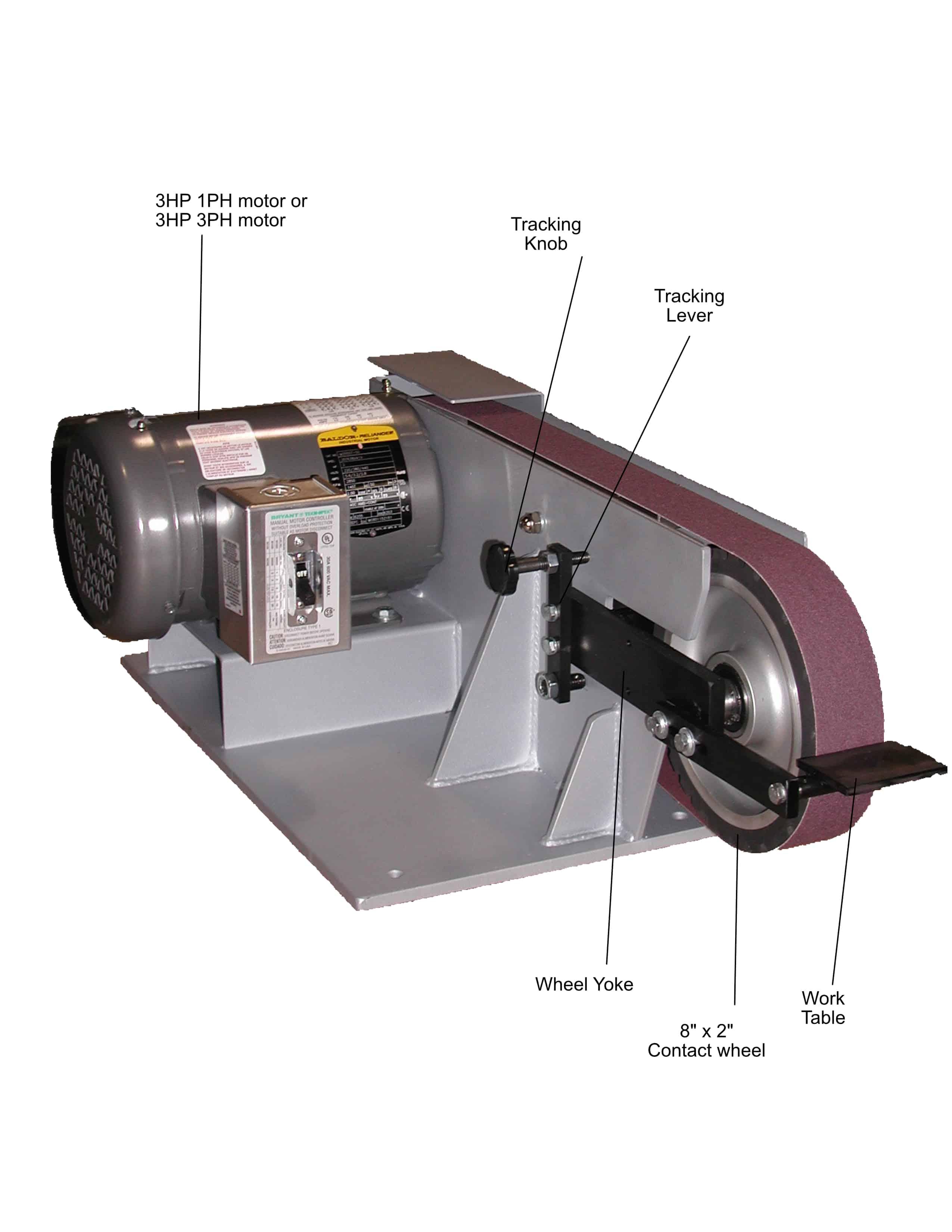 BG260 2 x 60 inch belt grinder with part info