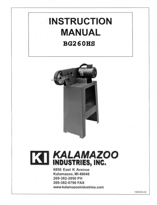 BG260 2 x 60 inch belt grinder manual, industrial. tool, 2 x 60 inch, grinders