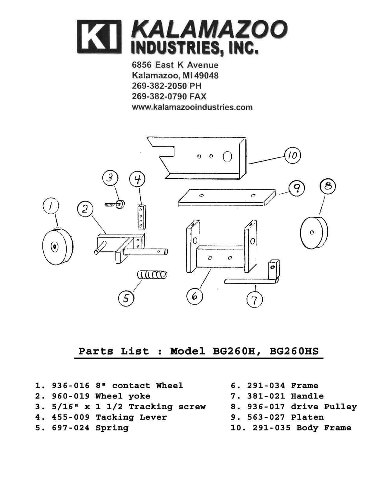BG260 2 x 60 inch belt grinder parts list, BG260 2 x 60 inch industrial belt grinders parts list, industrial belt grinders, belt grinders, industrial, grinders