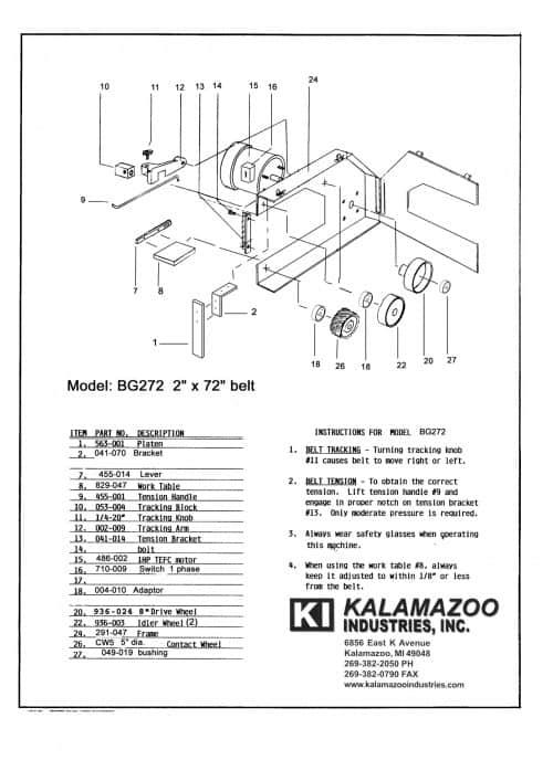 BG272 2 x 72 inch belt grinder replacement parts list, BG272 2 x 72 inch industrial belt grinder parts list, industrial belt grinder, belt grinder, belt, grinder
