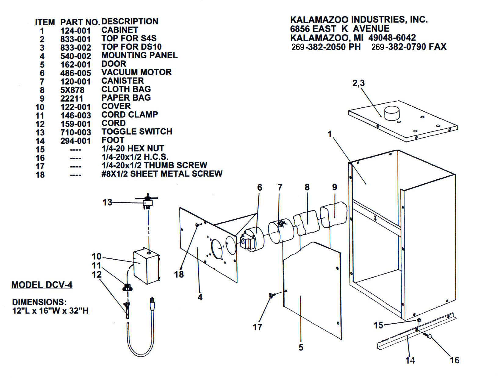 DCV-4 parts break down, DCV-4 Dust Collector, vacuum, Kalamazoo, sander, collector, 4 x 36 inch belt sander & vacuum base