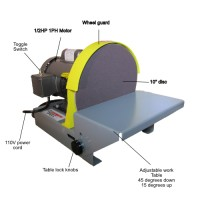 DS10 10 inch disc sander with text. Shows the important parts of the 10 inch disc sander