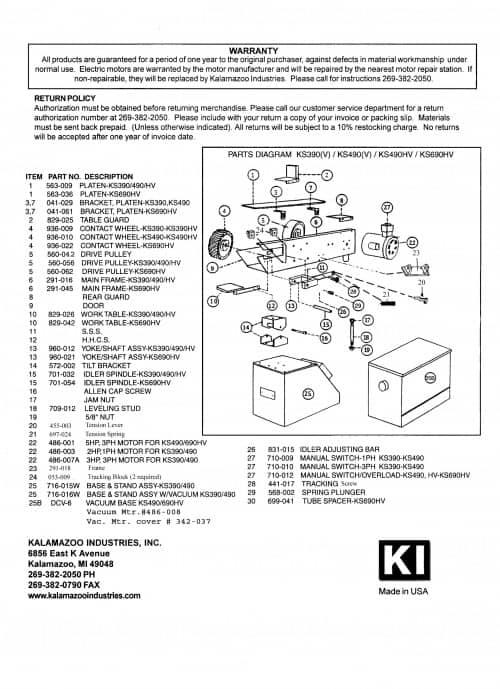 KS390-K690 industrial belt grinders replacement parts list, belt grinder, parts list, replacement parts, parts, grinder, belt grinder, industrial, KS390/KS490 3 & 4 inch heavy duty industrial belt grinders, grinding