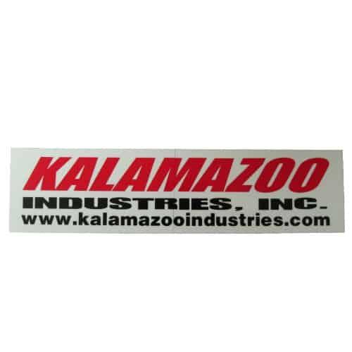 Large KI logo, 00127086 abrasive chop saw sticker kit, 00127087 Kalamazoo Industries logo stick kit