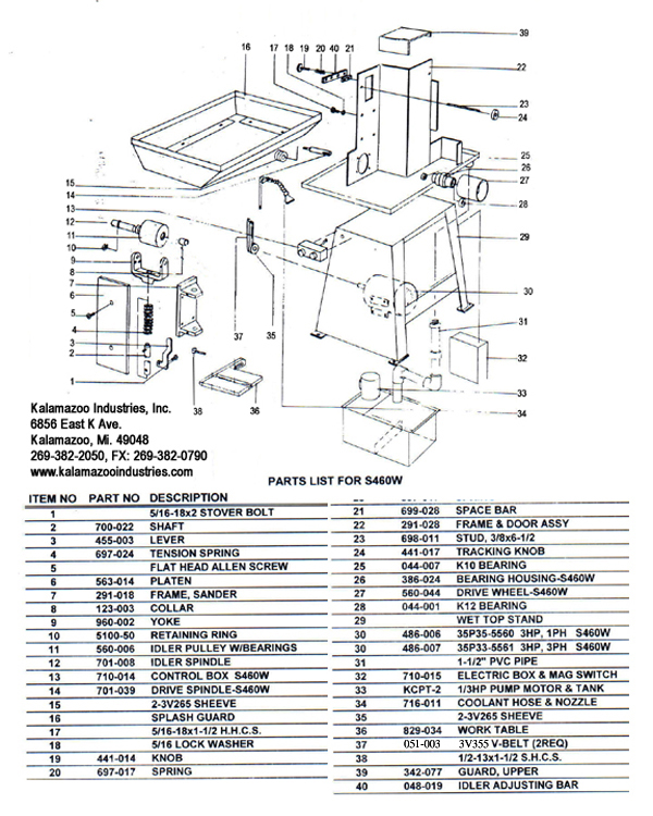 S460W 4 x 60 inch wet belt sander parts list