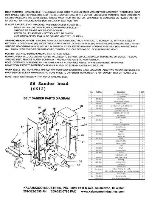 S612 and S612V 6 x 48 inch combination sander parts list page 1, 6 x 48 inch combination sander, combination sander parts, sander parts list, 6 x 48 inch, S612 and S612V 6 x 48 inch combination sander parts list page 1